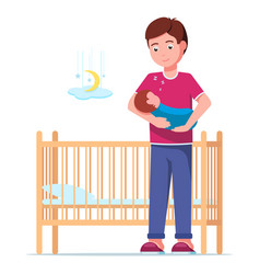 Father laying a sleeping newborn in a cot vector