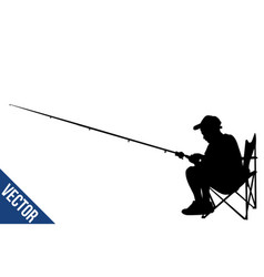 fisherman silhouette on white vector image