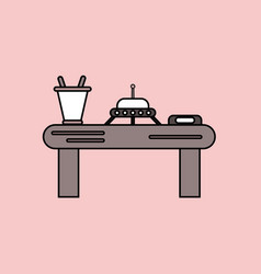 flat icon design collection flying saucer on table vector image