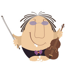 Funny cartoon violinist isolated vector
