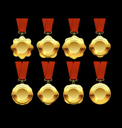 gold medals collection on red ribbons vector image