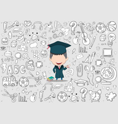 Graduated boy pupils back of school background vector