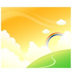 Green mountain rainbow sky vector