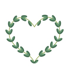 Green Vine Leaves in Beautiful Heart Shape Frame vector