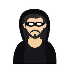 hacker man cartoon vector image