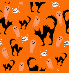 halloween spooky cats and ghost seamless pattern vector image