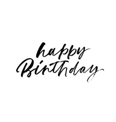happy birthday handwritten calligraphy vector image