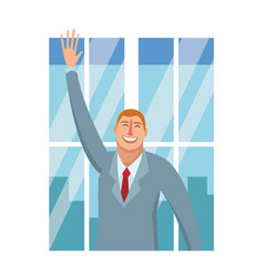 happy executive businessman cartoon vector image