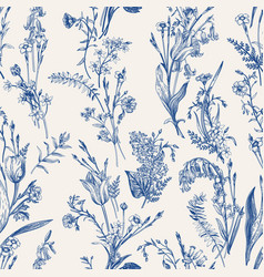 herbal seamless pattern blue vector image