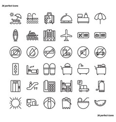 holiday outline icons perfect pixel vector image
