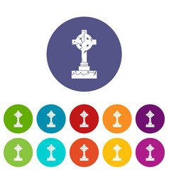 irish celtic cross icons set flat vector image