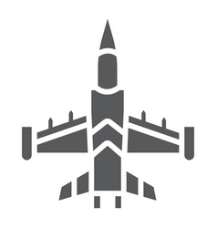 Jet fighter glyph icon army and force military vector