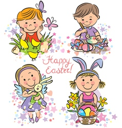 kids celebrate Easter vector image