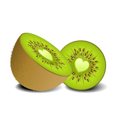 Kiwi fruit heart vector