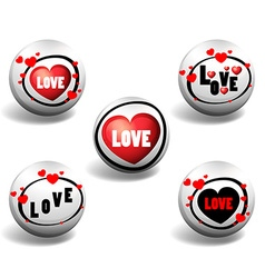 Love button in different designs vector image