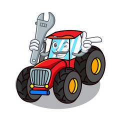 Mechanic tractor mascot cartoon style vector