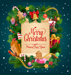 Merry christmas gifts new year holiday wish scroll vector