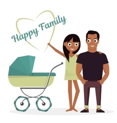 Mother and father with baby stroller vector image