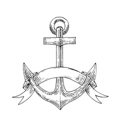 Nautical admiralty anchor with ribbon sketch vector image