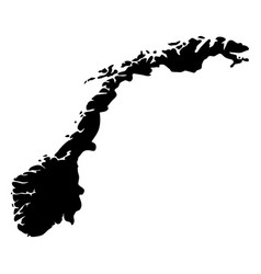 norway - solid black silhouette map of country vector image