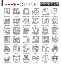 Office workspace outline mini concept symbols vector