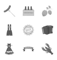 Oktoberfest set icons in monochrome style Big vector