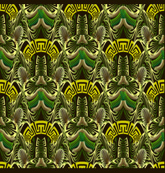 Ornate green 3d abstract greek seamless pattern vector