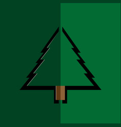 paper christmas tree on green background vector image