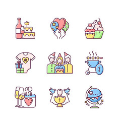 Party celebration rgb color icons set vector