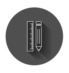 Pencil with ruler icon ruler meter with long vector