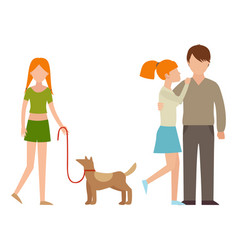 People happy family cartoon relationship vector
