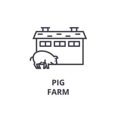 pig farm line icon outline sign linear symbol vector image