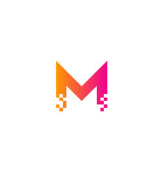 Pixel letter m logo icon design vector
