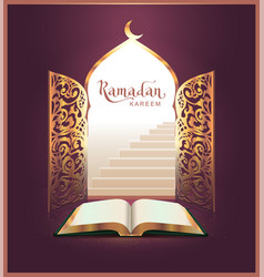 Ramadan kareem lettering text and open book door vector