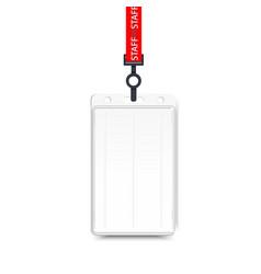 Realistic plastic badge sample vector