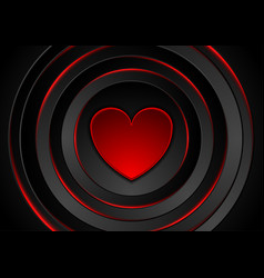 red heart and glowing circles abstract background vector image