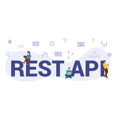 Rest api concept with modern big text or word and vector