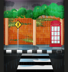 Road scene with heavy rain vector