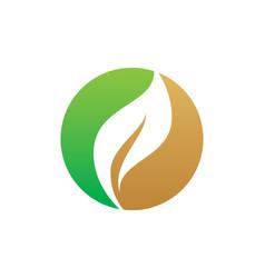 Round organic leaf bio logo vector