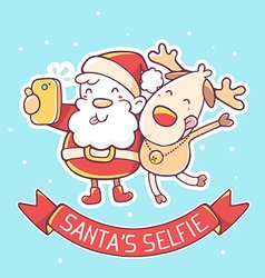 santa claus and reindeer make selfie with vector image