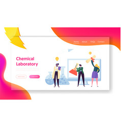 Science chemical laboratory character landing page vector