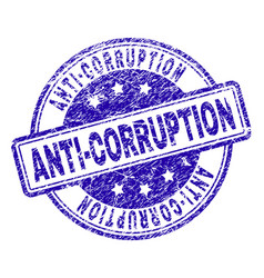 Scratched textured anti-corruption stamp seal vector