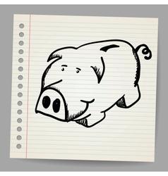 Scribble piggy bank vector image