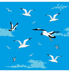 Sea gulls seamless vector