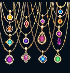 set gold jewelry pendants with precious stones vector image
