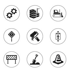 set of 9 editable construction icons includes vector image