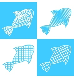 Set of hand drawn fish vector image