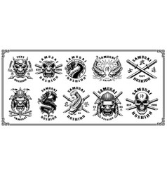 set of samurai emblems for white background vector image