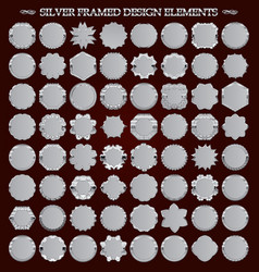 set of silver-framed design elements vector image