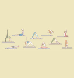 Set people doing yoga concept vector